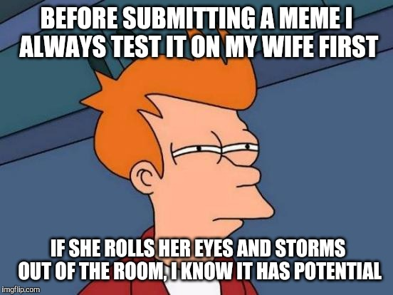 Futurama Fry Meme | BEFORE SUBMITTING A MEME I ALWAYS TEST IT ON MY WIFE FIRST IF SHE ROLLS HER EYES AND STORMS OUT OF THE ROOM, I KNOW IT HAS POTENTIAL | image tagged in memes,futurama fry | made w/ Imgflip meme maker
