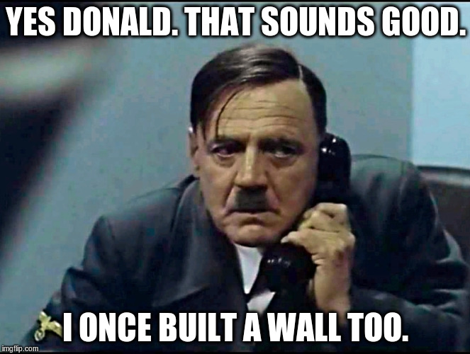 trump-hitler comparison | YES DONALD. THAT SOUNDS GOOD. I ONCE BUILT A WALL TOO. | image tagged in hitler phone,wall,border,mexico wall | made w/ Imgflip meme maker