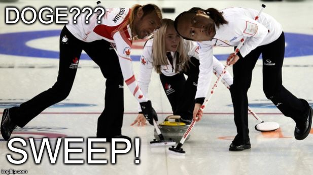 Rock Curling | DOGE??? SWEEP! | image tagged in rock curling | made w/ Imgflip meme maker