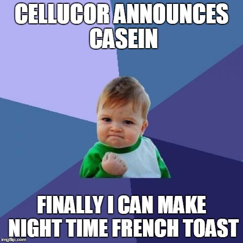Success Kid Meme | CELLUCOR ANNOUNCES CASEIN FINALLY I CAN MAKE NIGHT TIME FRENCH TOAST | image tagged in memes,success kid | made w/ Imgflip meme maker