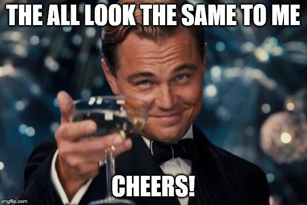 Leonardo Dicaprio Cheers Meme | THE ALL LOOK THE SAME TO ME CHEERS! | image tagged in memes,leonardo dicaprio cheers | made w/ Imgflip meme maker