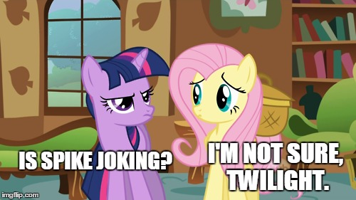 IS SPIKE JOKING? I'M NOT SURE, TWILIGHT. | made w/ Imgflip meme maker