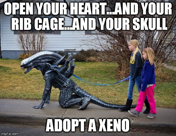 Exoskeleton Babies | OPEN YOUR HEART...AND YOUR RIB CAGE...AND YOUR SKULL ADOPT A XENO | image tagged in pet alien,aliens,xenomorph,adoption,funny memes | made w/ Imgflip meme maker
