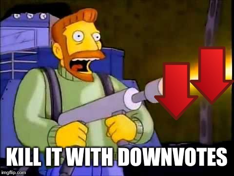 Kill it With Downvotes | KILL IT WITH DOWNVOTES | image tagged in kill it with fire | made w/ Imgflip meme maker
