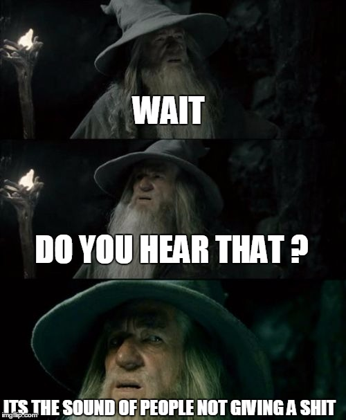 Sassy gandalf | WAIT DO YOU HEAR THAT ? ITS THE SOUND OF PEOPLE NOT GIVING A SHIT | image tagged in memes,confused gandalf | made w/ Imgflip meme maker