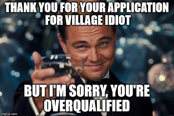 Leonardo Dicaprio Cheers Meme |  THANK YOU FOR YOUR APPLICATION FOR VILLAGE IDIOT; BUT I'M SORRY, YOU'RE OVERQUALIFIED | image tagged in memes,leonardo dicaprio cheers | made w/ Imgflip meme maker