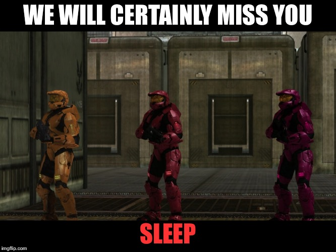 Daylight savings... It sucks | WE WILL CERTAINLY MISS YOU SLEEP | image tagged in red vs blue sarge we will certainly miss you lord x of the y | made w/ Imgflip meme maker