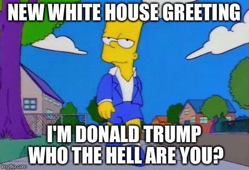 Bart Simpson Strut |  NEW WHITE HOUSE GREETING; I'M DONALD TRUMP WHO THE HELL ARE YOU? | made w/ Imgflip meme maker