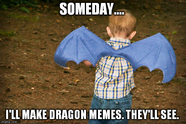 I like the dragon kid...!!!  | SOMEDAY.... I'LL MAKE DRAGON MEMES. THEY'LL SEE. | image tagged in dragons | made w/ Imgflip meme maker