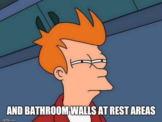 Futurama Fry Meme | AND BATHROOM WALLS AT REST AREAS | image tagged in memes,futurama fry | made w/ Imgflip meme maker