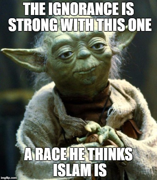 Star Wars Yoda Meme | THE IGNORANCE IS STRONG WITH THIS ONE A RACE HE THINKS ISLAM IS | image tagged in memes,star wars yoda | made w/ Imgflip meme maker