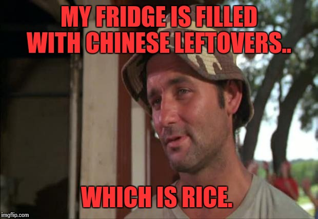 So I Got That Goin For Me Which Is Nice 2 |  MY FRIDGE IS FILLED WITH CHINESE LEFTOVERS.. WHICH IS RICE. | image tagged in memes,so i got that goin for me which is nice 2 | made w/ Imgflip meme maker