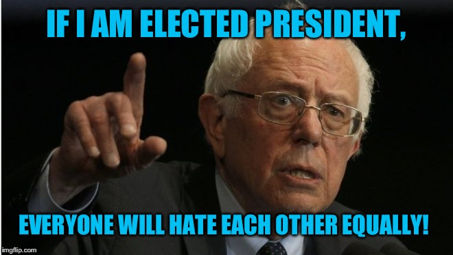 IF I AM ELECTED PRESIDENT, EVERYONE WILL HATE EACH OTHER EQUALLY! | made w/ Imgflip meme maker