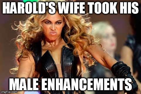 HAROLD'S WIFE TOOK HIS MALE ENHANCEMENTS | made w/ Imgflip meme maker