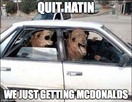 Quit Hatin | QUIT HATIN WE JUST GETTING MCDONALDS | image tagged in memes,quit hatin | made w/ Imgflip meme maker