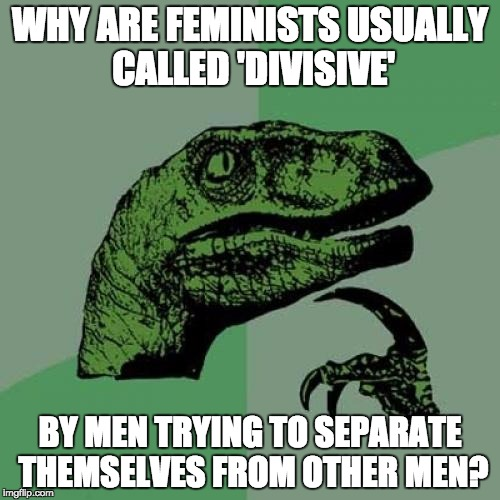 Philosoraptor | WHY ARE FEMINISTS USUALLY CALLED 'DIVISIVE' BY MEN TRYING TO SEPARATE THEMSELVES FROM OTHER MEN? | image tagged in memes,philosoraptor,feminism,patriarchy,notallmen,feminist | made w/ Imgflip meme maker