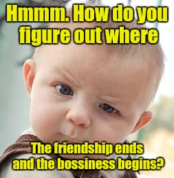 Skeptical Baby Meme | Hmmm. How do you figure out where The friendship ends and the bossiness begins? | image tagged in memes,skeptical baby | made w/ Imgflip meme maker