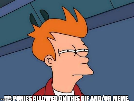 Futurama Fry Meme | NO PONIES ALLOWED ON THIS GIF AND/OR MEME. | image tagged in memes,futurama fry | made w/ Imgflip meme maker