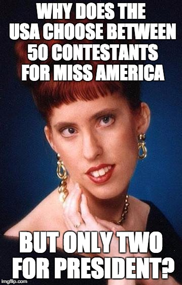 Irish Beauty | WHY DOES THE USA CHOOSE BETWEEN 50 CONTESTANTS FOR MISS AMERICA BUT ONLY TWO FOR PRESIDENT? | image tagged in irish beauty | made w/ Imgflip meme maker