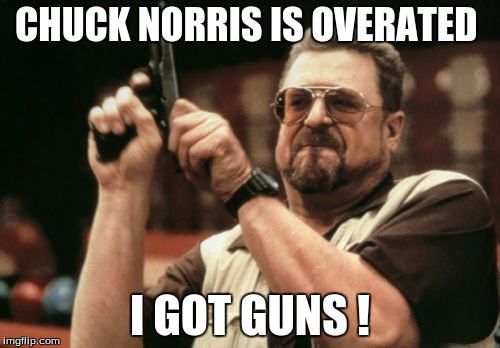 Am I The Only One Around Here Meme |  CHUCK NORRIS IS OVERATED; I GOT GUNS ! | image tagged in memes,am i the only one around here | made w/ Imgflip meme maker