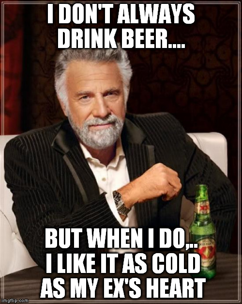 ever have to deal with an ex ?  | I DON'T ALWAYS DRINK BEER.... BUT WHEN I DO,.. I LIKE IT AS COLD AS MY EX'S HEART | image tagged in memes,the most interesting man in the world | made w/ Imgflip meme maker
