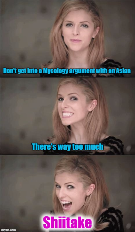 Not sure how mushroom there is for this pun | Don't get into a Mycology argument with an Asian Shiitake There's way too much | image tagged in memes,bad pun anna kendrick,mushroom,mushrooms,funny memes | made w/ Imgflip meme maker