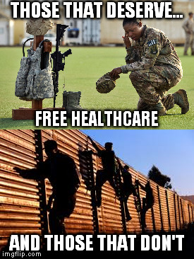Veterans deserve it...  | THOSE THAT DESERVE... AND THOSE THAT DON'T FREE HEALTHCARE | image tagged in veterans | made w/ Imgflip meme maker