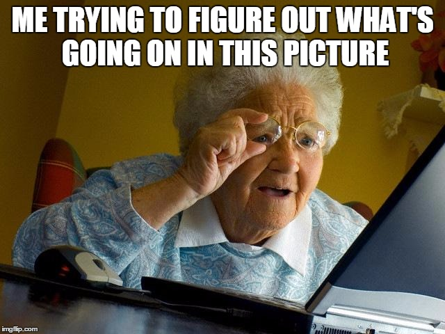 Grandma Finds The Internet Meme | ME TRYING TO FIGURE OUT WHAT'S GOING ON IN THIS PICTURE | image tagged in memes,grandma finds the internet | made w/ Imgflip meme maker