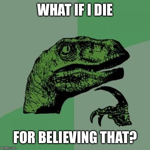 Philosoraptor Meme | WHAT IF I DIE FOR BELIEVING THAT? | image tagged in memes,philosoraptor | made w/ Imgflip meme maker