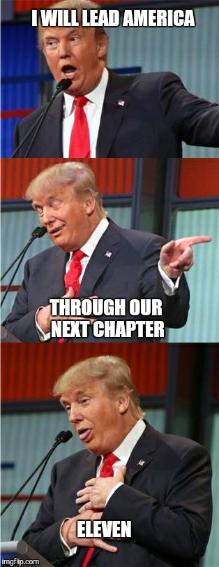 He has experience in these matters. |  I WILL LEAD AMERICA; THROUGH OUR NEXT CHAPTER; ELEVEN | image tagged in bad pun trump,bankruptcy,america,trump 2016,2016 election,business | made w/ Imgflip meme maker