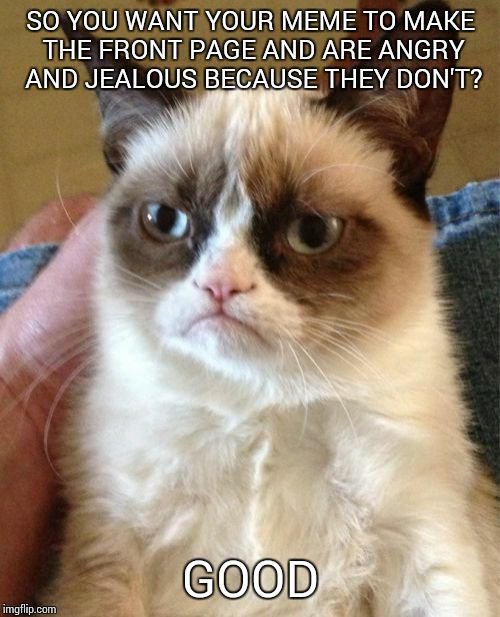 Grumpy Cat Meme | SO YOU WANT YOUR MEME TO MAKE THE FRONT PAGE AND ARE ANGRY AND JEALOUS BECAUSE THEY DON'T? GOOD | image tagged in memes,grumpy cat | made w/ Imgflip meme maker