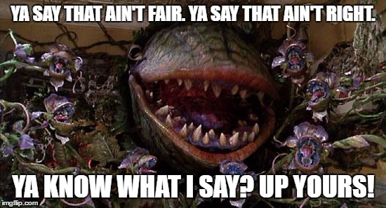 up yours! |  YA SAY THAT AIN'T FAIR. YA SAY THAT AIN'T RIGHT. YA KNOW WHAT I SAY? UP YOURS! | image tagged in little shop of horrors,audrey 2,up yours,indignant | made w/ Imgflip meme maker