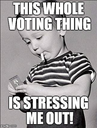 It's Not Even November Yet | THIS WHOLE VOTING THING IS STRESSING ME OUT! | image tagged in stress,voting | made w/ Imgflip meme maker