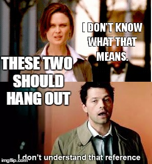 THESE TWO SHOULD HANG OUT | image tagged in bones,supernatural,castiel | made w/ Imgflip meme maker