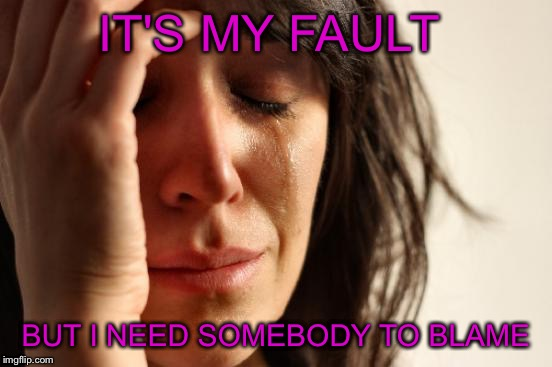 First World Problems Meme | IT'S MY FAULT BUT I NEED SOMEBODY TO BLAME | image tagged in memes,first world problems | made w/ Imgflip meme maker