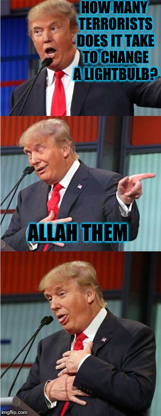 Loving this new template, thought it was time to use it xD | HOW MANY TERRORISTS DOES IT TAKE TO CHANGE A LIGHTBULB? ALLAH THEM | image tagged in bad pun trump,lightbulbs,memes,funny | made w/ Imgflip meme maker