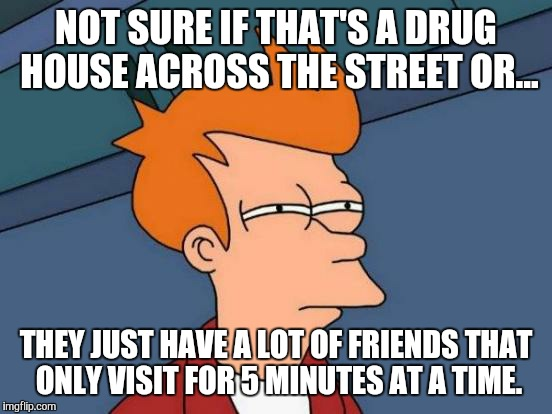 Futurama Fry Meme | NOT SURE IF THAT'S A DRUG HOUSE ACROSS THE STREET OR... THEY JUST HAVE A LOT OF FRIENDS THAT ONLY VISIT FOR 5 MINUTES AT A TIME. | image tagged in memes,futurama fry | made w/ Imgflip meme maker