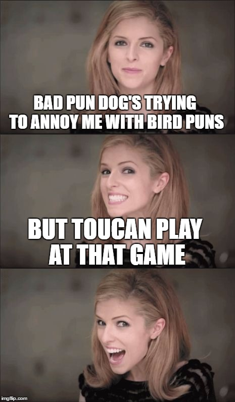 Bad Pun Anna Kendrick |  BAD PUN DOG'S TRYING TO ANNOY ME WITH BIRD PUNS; BUT TOUCAN PLAY AT THAT GAME | image tagged in memes,bad pun anna kendrick | made w/ Imgflip meme maker