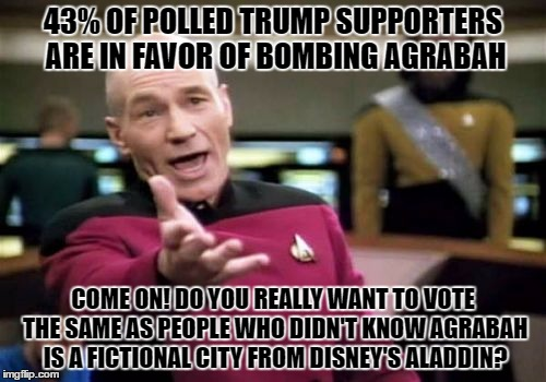 Picard Wtf | 43% OF POLLED TRUMP SUPPORTERS ARE IN FAVOR OF BOMBING AGRABAH COME ON! DO YOU REALLY WANT TO VOTE THE SAME AS PEOPLE WHO DIDN'T KNOW AGRABA | image tagged in memes,picard wtf | made w/ Imgflip meme maker