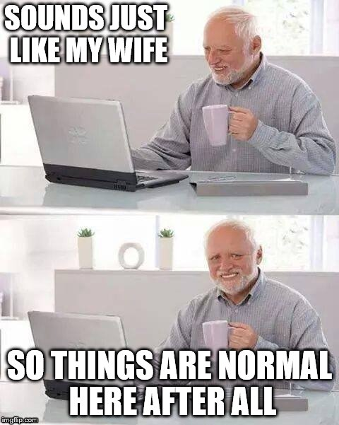SOUNDS JUST LIKE MY WIFE SO THINGS ARE NORMAL HERE AFTER ALL | made w/ Imgflip meme maker