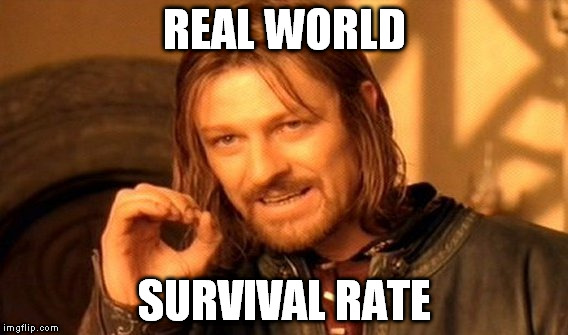 One Does Not Simply Meme | REAL WORLD SURVIVAL RATE | image tagged in memes,one does not simply | made w/ Imgflip meme maker