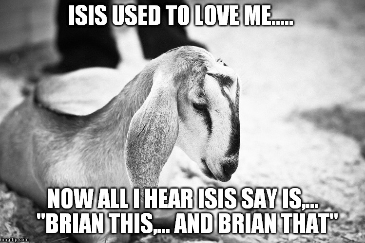 "ISIS USED TO LOVE ME..... NOW ALL I HEAR ISIS SAY IS,...  ""BRIAN THIS,... AND BRIAN THAT"" 