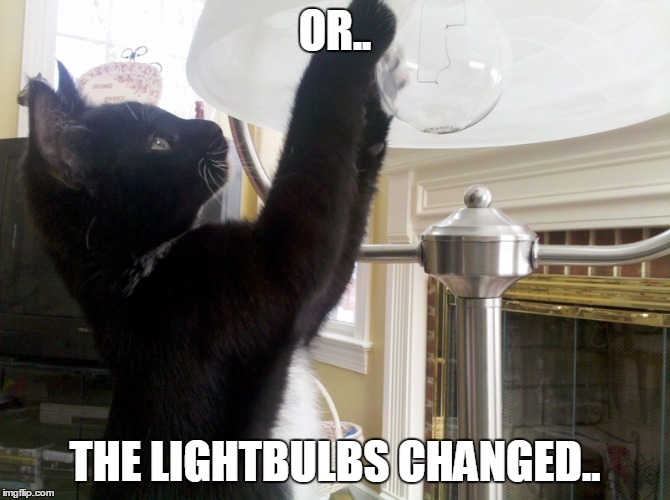 dat bulb change tho | OR.. THE LIGHTBULBS CHANGED.. | image tagged in dat bulb change tho | made w/ Imgflip meme maker
