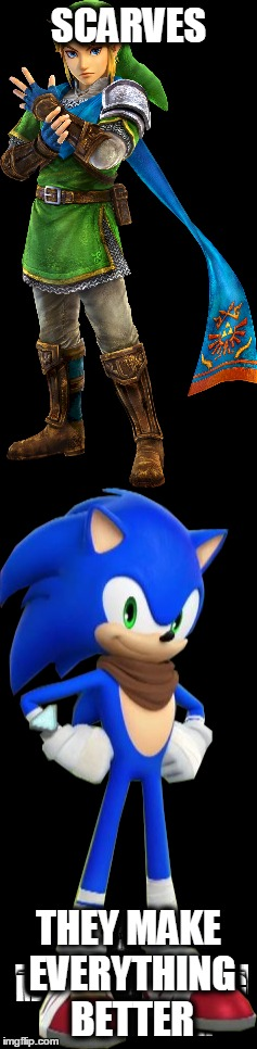 Why . . .? | SCARVES THEY MAKE EVERYTHING BETTER | image tagged in link,sonic boom,why so serious,if you know what i mean bean | made w/ Imgflip meme maker