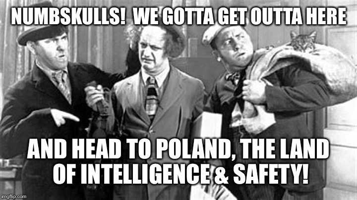 NUMBSKULLS!  WE GOTTA GET OUTTA HERE AND HEAD TO POLAND, THE LAND OF INTELLIGENCE & SAFETY! | made w/ Imgflip meme maker