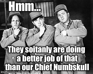 Hmm... They soitanly are doing a better job of that than our Chief Numbskull | made w/ Imgflip meme maker