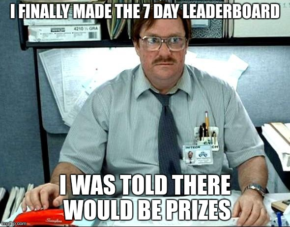 I Was Told There Would Be |  I FINALLY MADE THE 7 DAY LEADERBOARD; I WAS TOLD THERE WOULD BE PRIZES | image tagged in memes,i was told there would be,leaderboard | made w/ Imgflip meme maker