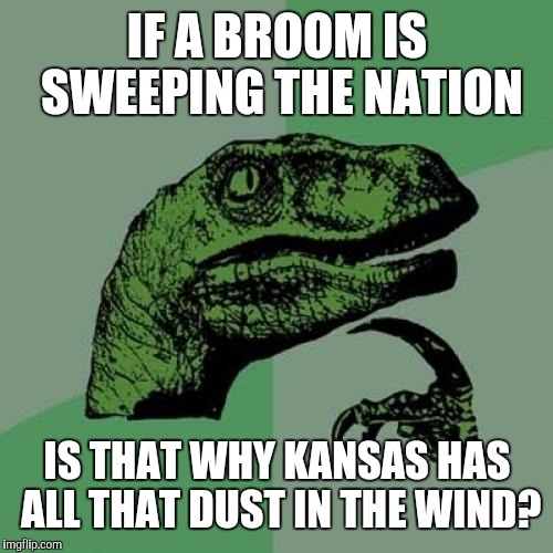 Philosoraptor Meme | IF A BROOM IS SWEEPING THE NATION IS THAT WHY KANSAS HAS ALL THAT DUST IN THE WIND? | image tagged in memes,philosoraptor | made w/ Imgflip meme maker