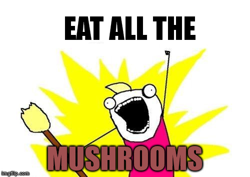 Eat All The Mushrooms | EAT ALL THE MUSHROOMS | image tagged in memes,x all the y,eat,mushrooms | made w/ Imgflip meme maker