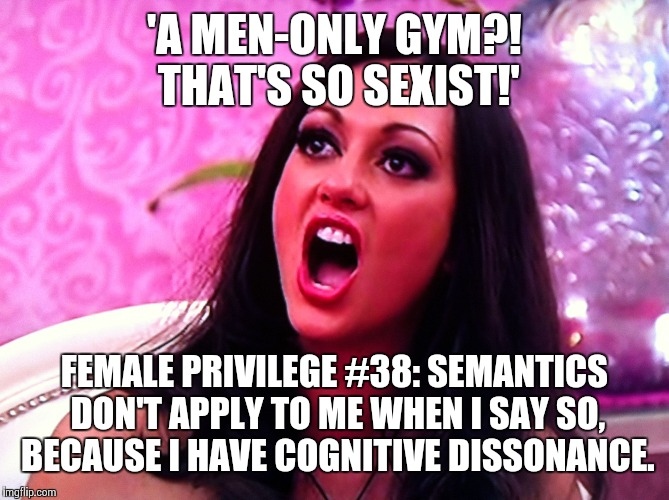 feminazi | 'A MEN-ONLY GYM?! THAT'S SO SEXIST!' FEMALE PRIVILEGE #38: SEMANTICS DON'T APPLY TO ME WHEN I SAY SO, BECAUSE I HAVE COGNITIVE DISSONANCE. | image tagged in feminazi | made w/ Imgflip meme maker